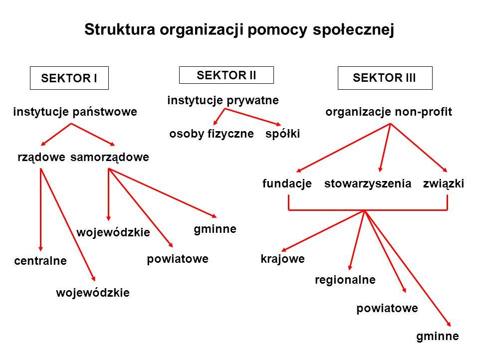 Struktura organizacji pomocy społecznej instytucje państwowe rządowe SEKTOR II instytucje prywatne osoby fizycznespółki samorządowe centralne wojewódz