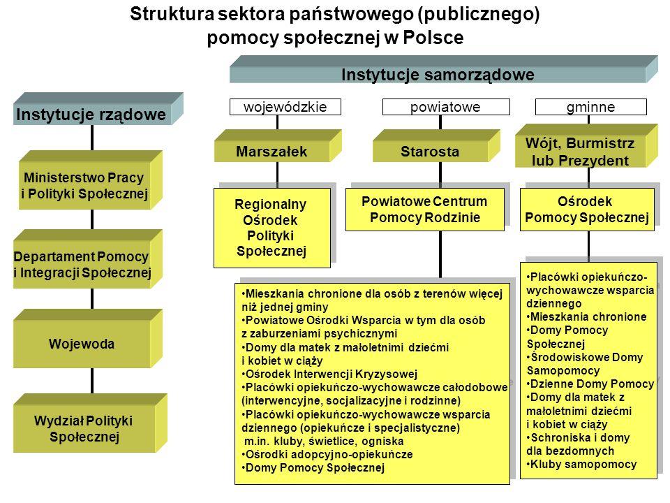 Struktura sektora państwowego (publicznego) pomocy społecznej w Polsce Instytucje rządowe Instytucje samorządowe Ministerstwo Pracy i Polityki Społecz