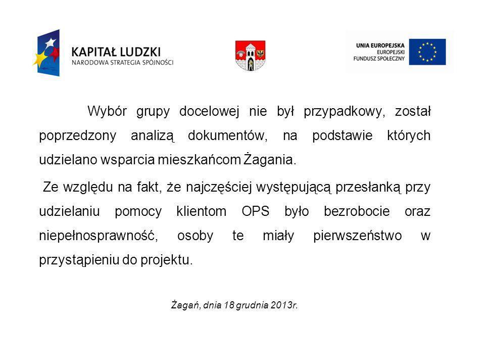 Wybór grupy docelowej nie był przypadkowy, został poprzedzony analizą dokumentów, na podstawie których udzielano wsparcia mieszkańcom Żagania.