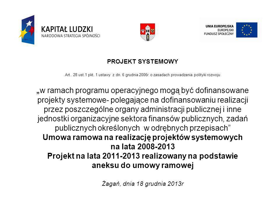 DZIAŁANIE 7.1 ROZWÓJ I UPOWSZECHNIENIE AKTYWNEJ INTEGRACJI INSTYTUCJA POŚREDNICZĄCA PODDZIAŁANIE 7.1.1 Rozwój i upowszechnianie aktywnej integracji przez ośrodki pomocy społecznej Żagań, dnia 18 grudnia 2013r
