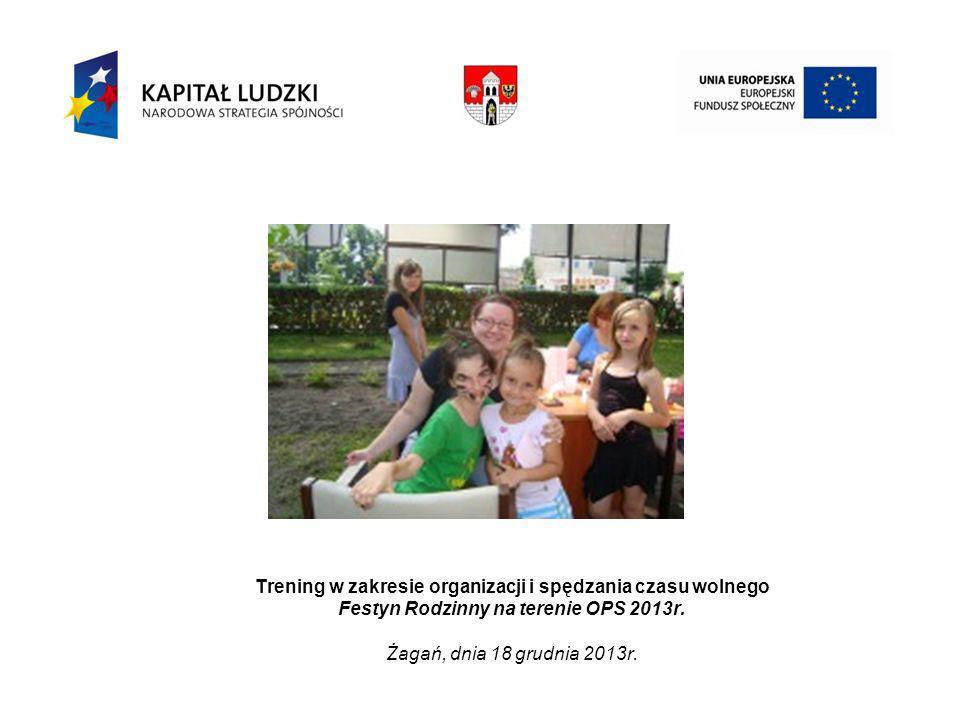 Trening w zakresie organizacji i spędzania czasu wolnego Festyn Rodzinny na terenie OPS 2013r.
