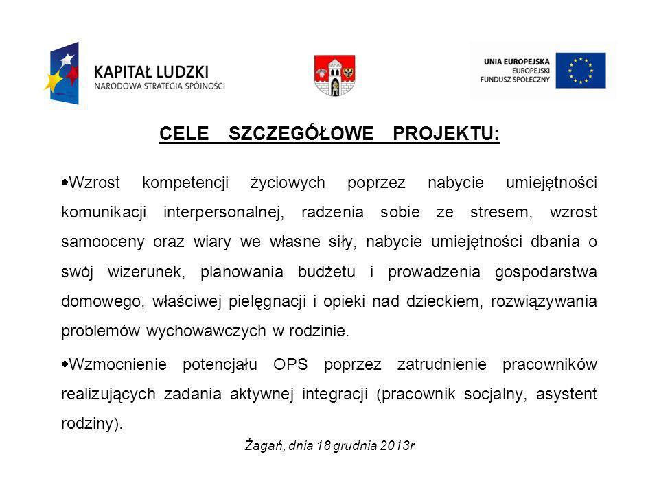 GRUPY DOCELOWE Działania projektowe skierowane zostały do mieszkańców miasta Żagań w wielu aktywności zawodowej (18-64), objętych wsparciem Ośrodka Pomocy Społecznej w Żaganiu i zagrożonych wykluczeniem społecznym, a w szczególności do: osób bezrobotnych osób z niepełnosprawnością osób wymagających wsparcia w pełnieniu ról społecznych Żagań, dnia 18 grudnia 2013r.