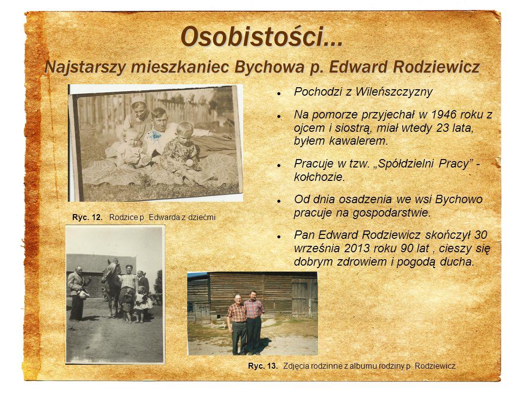 Osobistości... Najstarszy mieszkaniec Bychowa p. Edward Rodziewicz Pochodzi z Wileńszczyzny Na pomorze przyjechał w 1946 roku z ojcem i siostrą, miał