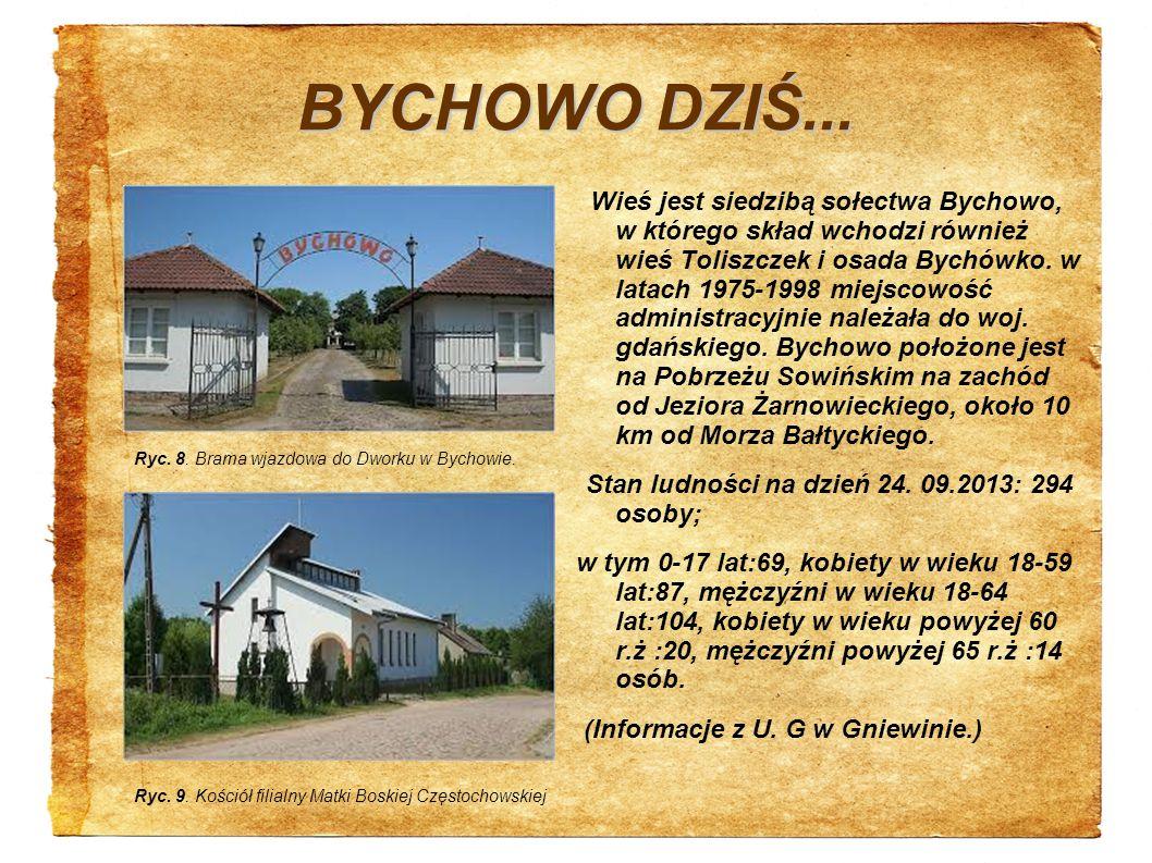 BYCHOWO DZIŚ... Wieś jest siedzibą sołectwa Bychowo, w którego skład wchodzi również wieś Toliszczek i osada Bychówko. w latach 1975-1998 miejscowość