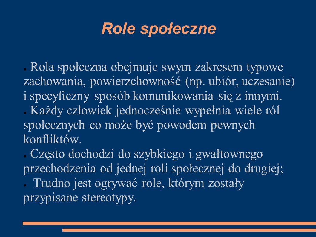 Role społeczne Rola społeczna obejmuje swym zakresem typowe zachowania, powierzchowność (np. ubiór, uczesanie) i specyficzny sposób komunikowania się