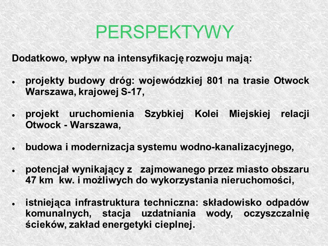 PERSPEKTYWY Dodatkowo, wpływ na intensyfikację rozwoju mają: projekty budowy dróg: wojewódzkiej 801 na trasie Otwock Warszawa, krajowej S-17, projekt