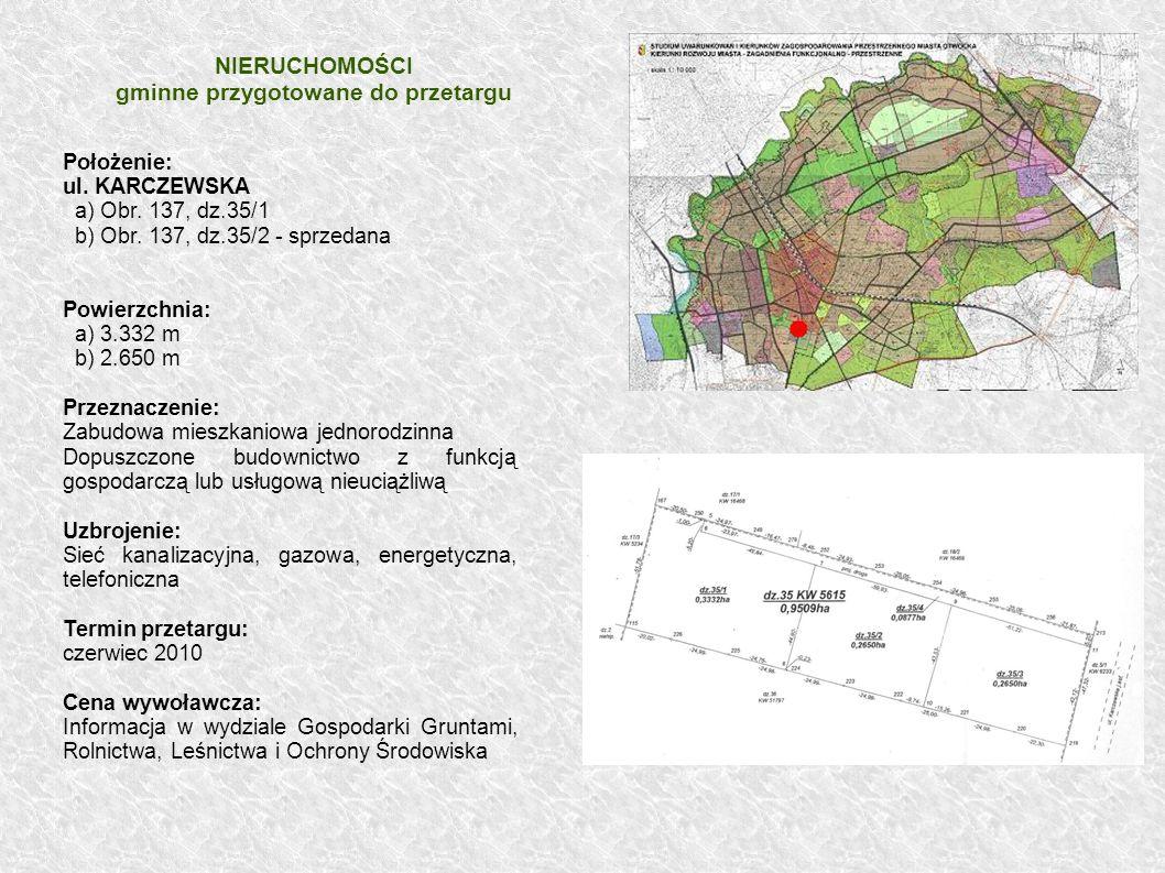 Położenie: ul. KARCZEWSKA a) Obr. 137, dz.35/1 b) Obr. 137, dz.35/2 - sprzedana Powierzchnia: a) 3.332 m2 b) 2.650 m2 Przeznaczenie: Zabudowa mieszkan