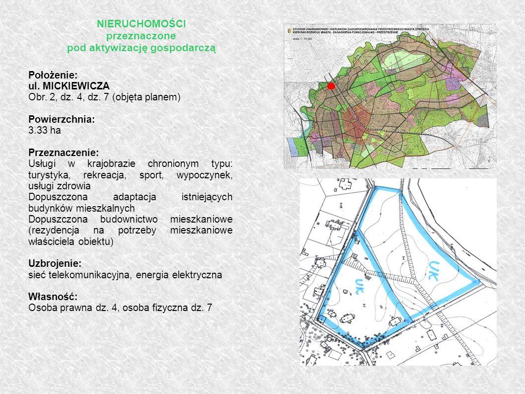 Położenie: ul. MICKIEWICZA Obr. 2, dz. 4, dz. 7 (objęta planem) Powierzchnia: 3.33 ha Przeznaczenie: Usługi w krajobrazie chronionym typu: turystyka,
