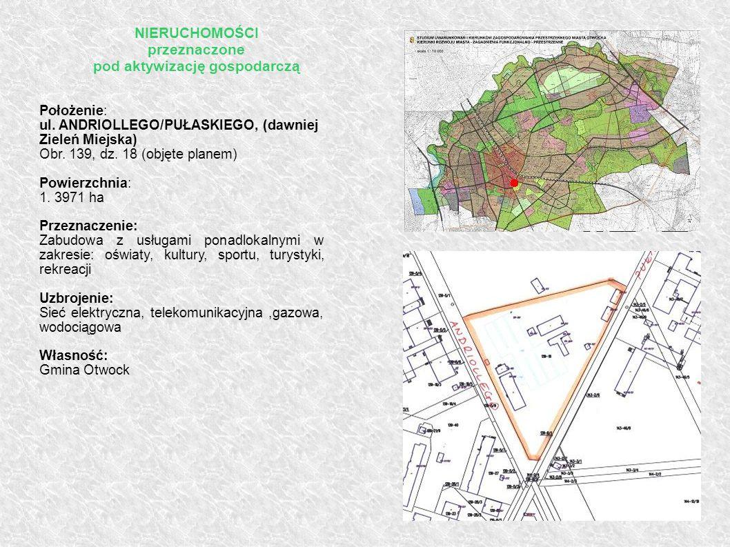 Położenie: ul. ANDRIOLLEGO/PUŁASKIEGO, (dawniej Zieleń Miejska) Obr. 139, dz. 18 (objęte planem) Powierzchnia: 1. 3971 ha Przeznaczenie: Zabudowa z us