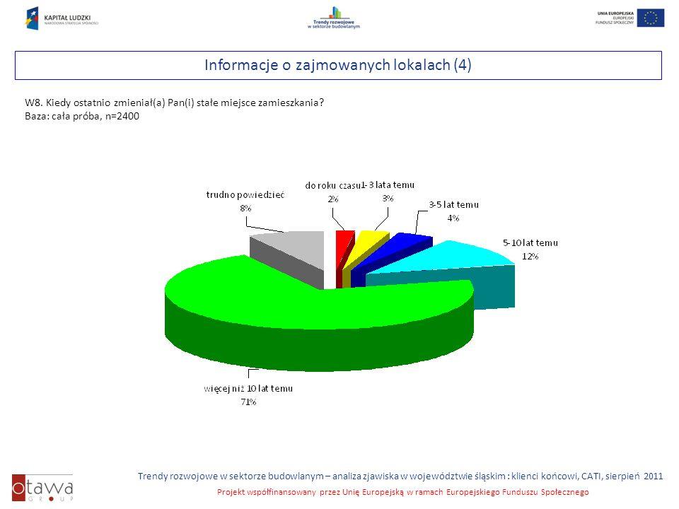 Slajd 13 Trendy rozwojowe w sektorze budowlanym – analiza zjawiska w województwie śląskim : klienci końcowi, CATI, sierpień 2011 Projekt współfinansowany przez Unię Europejską w ramach Europejskiego Funduszu Społecznego Informacje o zajmowanych lokalach (4) W8.