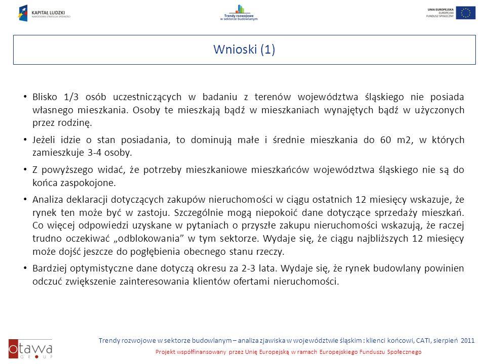 Slajd 6 Trendy rozwojowe w sektorze budowlanym – analiza zjawiska w województwie śląskim : klienci końcowi, CATI, sierpień 2011 Projekt współfinansowany przez Unię Europejską w ramach Europejskiego Funduszu Społecznego Wnioski (1) Blisko 1/3 osób uczestniczących w badaniu z terenów województwa śląskiego nie posiada własnego mieszkania.