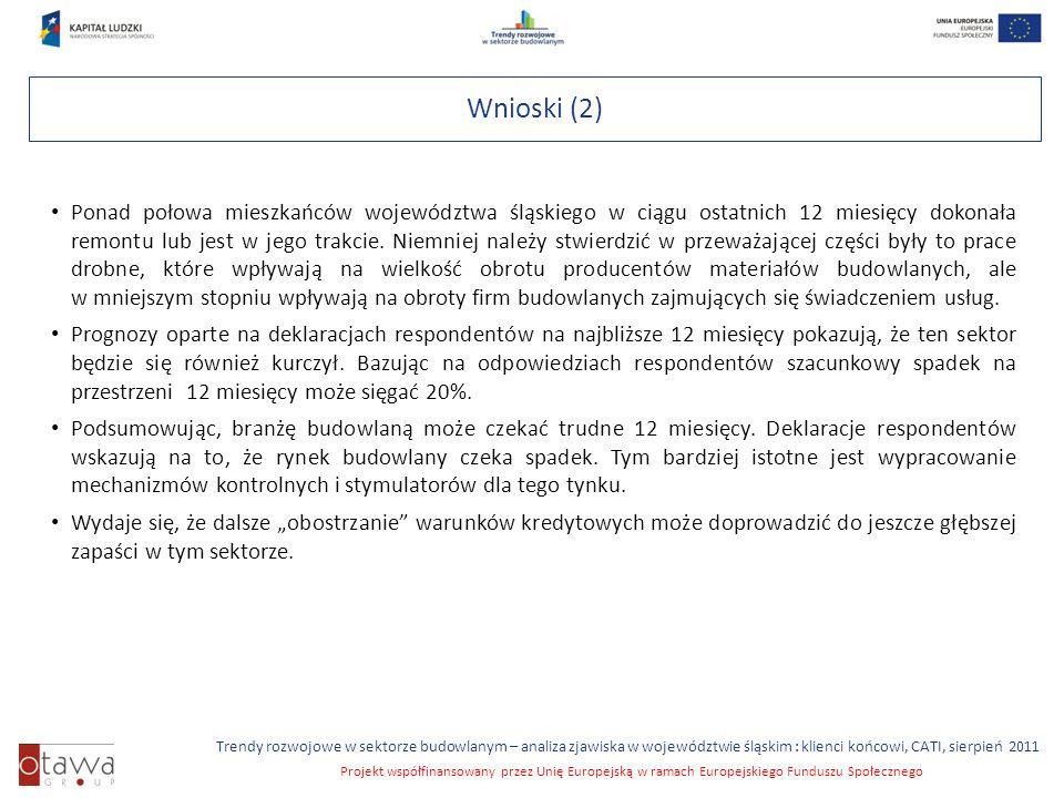 Slajd 7 Trendy rozwojowe w sektorze budowlanym – analiza zjawiska w województwie śląskim : klienci końcowi, CATI, sierpień 2011 Projekt współfinansowany przez Unię Europejską w ramach Europejskiego Funduszu Społecznego Wnioski (2) Ponad połowa mieszkańców województwa śląskiego w ciągu ostatnich 12 miesięcy dokonała remontu lub jest w jego trakcie.