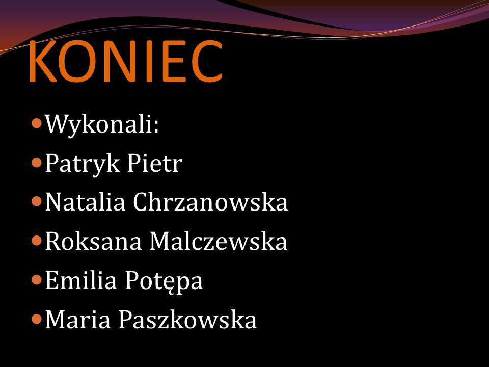 KONIEC Wykonali: Patryk Pietr Natalia Chrzanowska Roksana Malczewska Emilia Potępa Maria Paszkowska