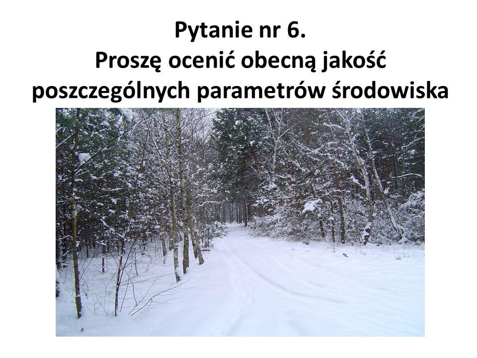 Pytanie nr 6. Proszę ocenić obecną jakość poszczególnych parametrów środowiska