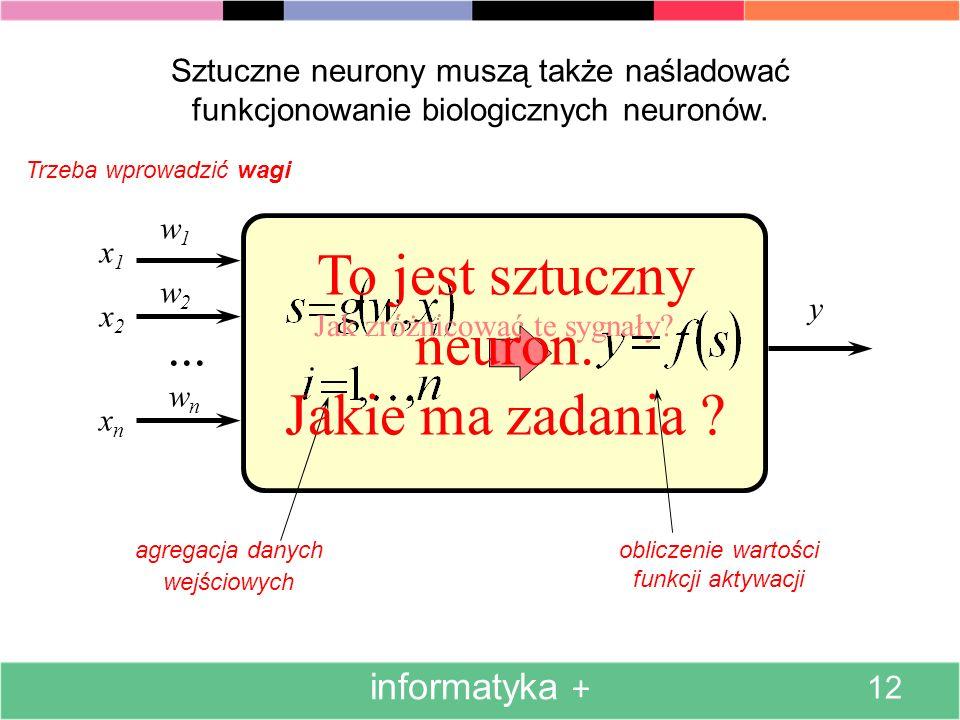 Sztuczne neurony posiadają jedynie najpotrzebniejsze cechy biologicznych neuronów. informatyka + 11