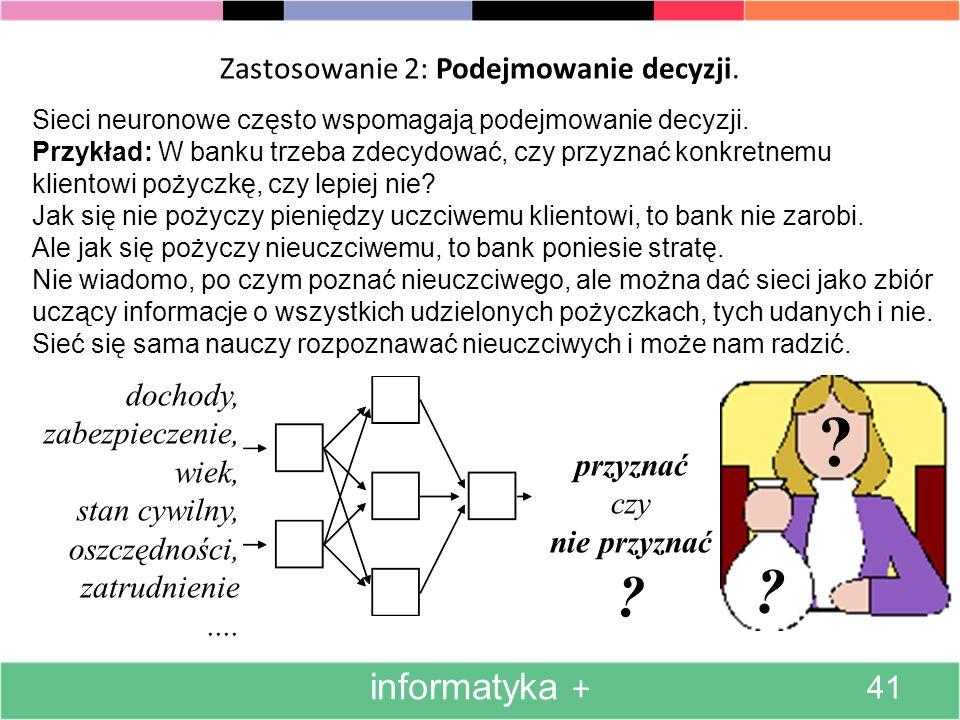 Zastosowanie 1: Tworzenie modelu procesu informatyka + 40 Sieci neuronowe często są używane do modelowania różnych procesów.