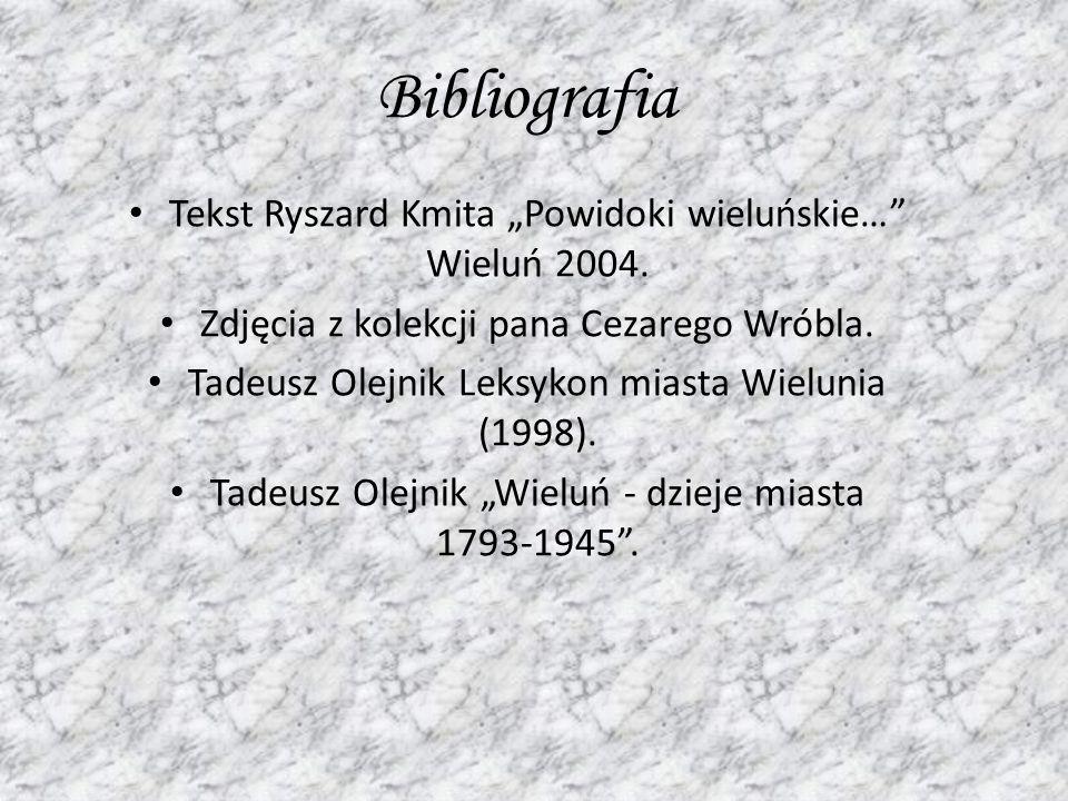 Bibliografia Tekst Ryszard Kmita Powidoki wieluńskie… Wieluń 2004. Zdjęcia z kolekcji pana Cezarego Wróbla. Tadeusz Olejnik Leksykon miasta Wielunia (