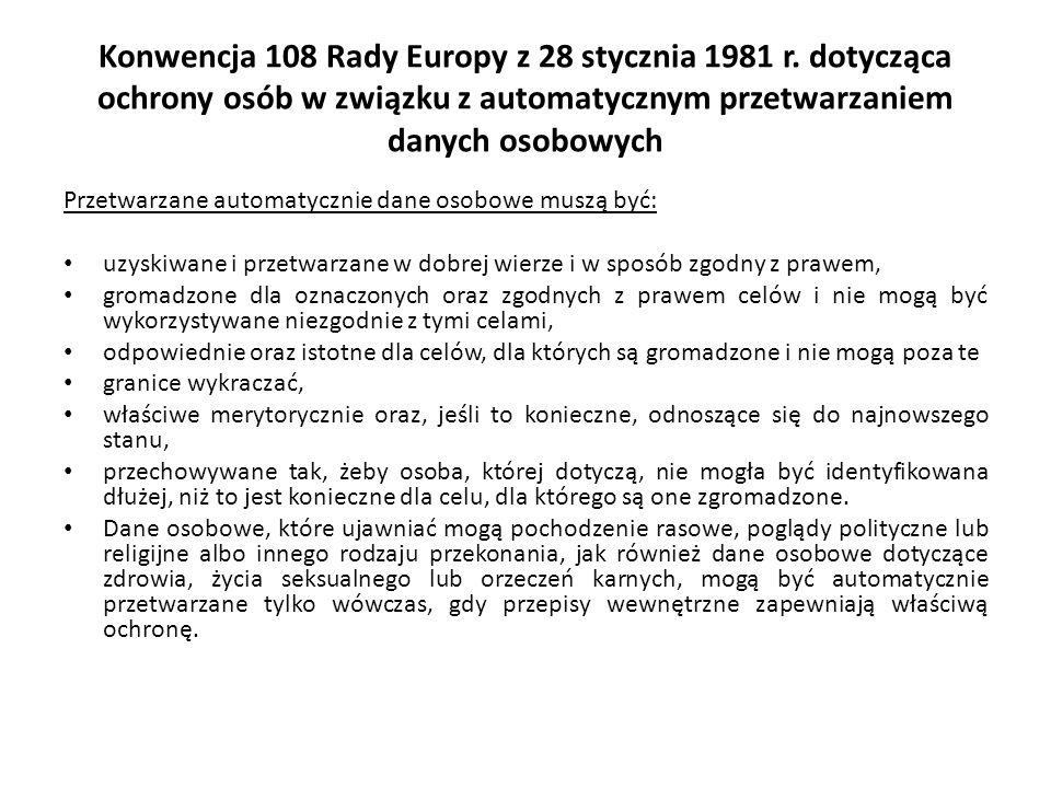 Konwencja 108 Rady Europy z 28 stycznia 1981 r. dotycząca ochrony osób w związku z automatycznym przetwarzaniem danych osobowych Przetwarzane automaty