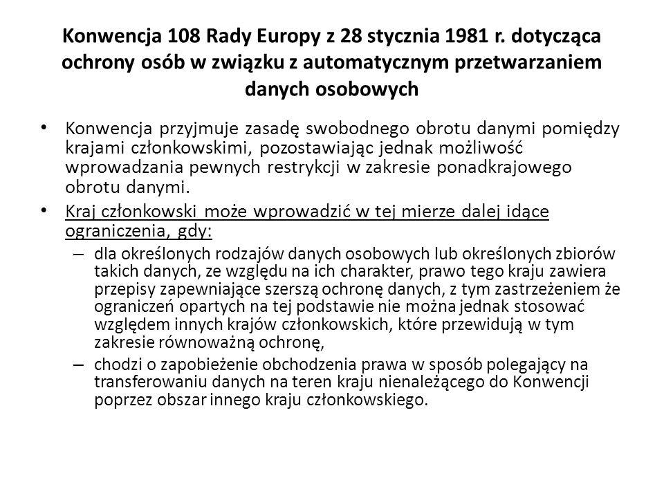 Konwencja 108 Rady Europy z 28 stycznia 1981 r. dotycząca ochrony osób w związku z automatycznym przetwarzaniem danych osobowych Konwencja przyjmuje z