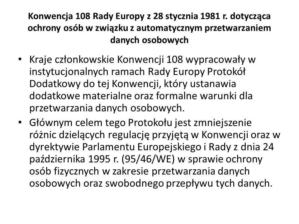 Konwencja 108 Rady Europy z 28 stycznia 1981 r. dotycząca ochrony osób w związku z automatycznym przetwarzaniem danych osobowych Kraje członkowskie Ko