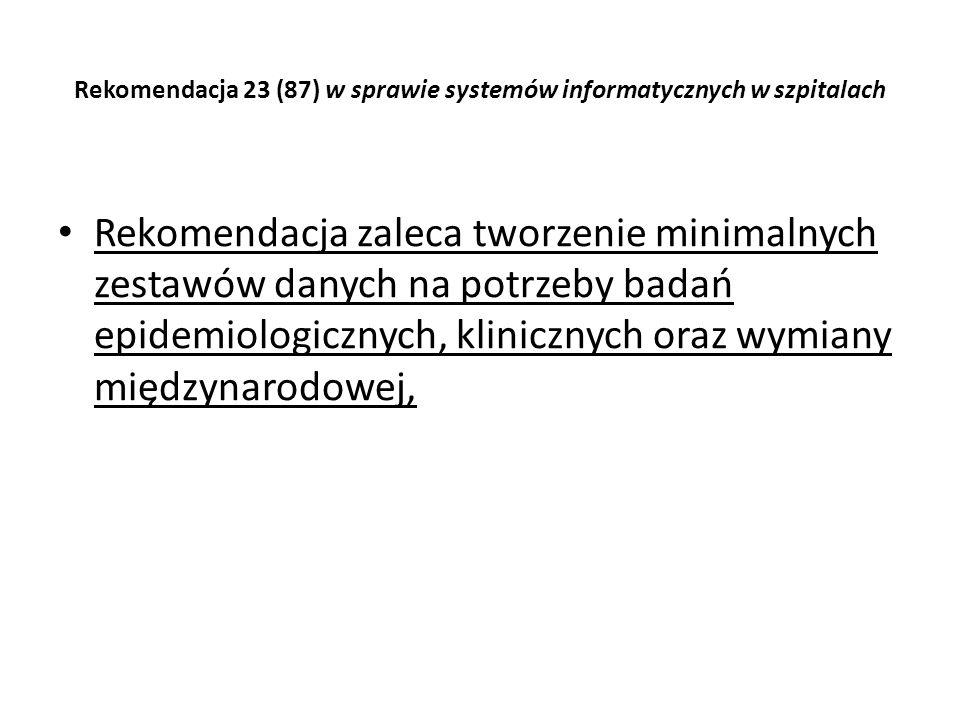Rekomendacja 23 (87) w sprawie systemów informatycznych w szpitalach Rekomendacja zaleca tworzenie minimalnych zestawów danych na potrzeby badań epide