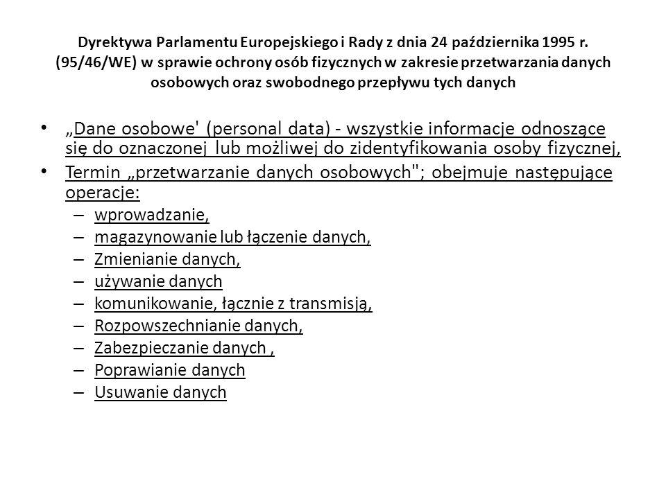 Dyrektywa Parlamentu Europejskiego i Rady z dnia 24 października 1995 r. (95/46/WE) w sprawie ochrony osób fizycznych w zakresie przetwarzania danych