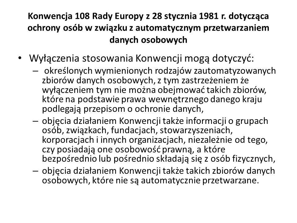 Konwencja 108 Rady Europy z 28 stycznia 1981 r. dotycząca ochrony osób w związku z automatycznym przetwarzaniem danych osobowych Wyłączenia stosowania