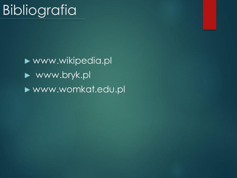Bibliografia www.wikipedia.pl www.bryk.pl www.womkat.edu.pl