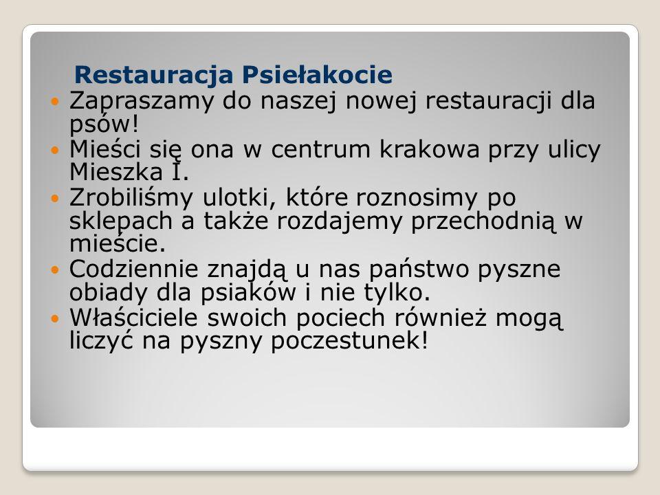 Restauracja Psiełakocie Zapraszamy do naszej nowej restauracji dla psów! Mieści się ona w centrum krakowa przy ulicy Mieszka I. Zrobiliśmy ulotki, któ