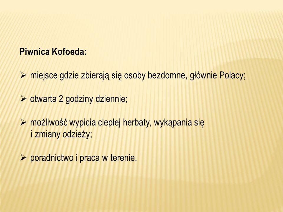 Piwnica Kofoeda: miejsce gdzie zbierają się osoby bezdomne, głównie Polacy; otwarta 2 godziny dziennie; możliwość wypicia ciepłej herbaty, wykąpania s