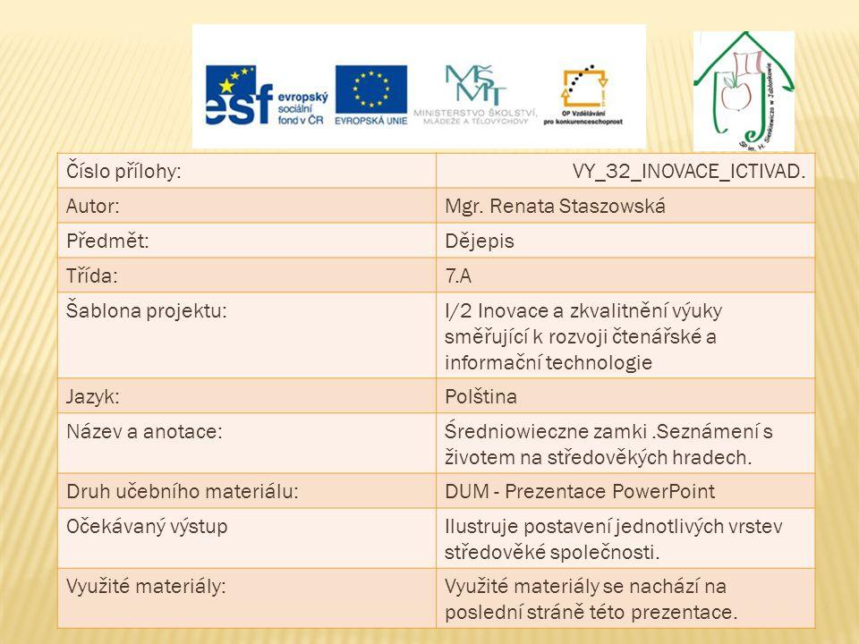 Číslo přílohy:VY_32_INOVACE_ICTIVAD. Autor:Mgr. Renata Staszowská Předmět:Dějepis Třída:7.A Šablona projektu:I/2 Inovace a zkvalitnění výuky směřující