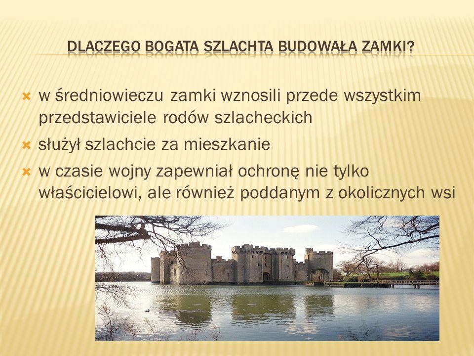 w średniowieczu zamki wznosili przede wszystkim przedstawiciele rodów szlacheckich służył szlachcie za mieszkanie w czasie wojny zapewniał ochronę nie