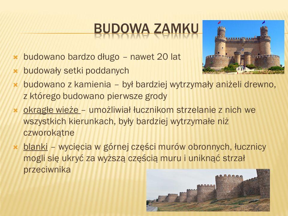 w zamku mieszkał szlachcic ze swoją rodziną i dworem – razem ze służbą i rzemieślnikami dwór mógł liczyć nawet 100 osób przypominał miasto tętniące życiem szlachta mieszkała w najwyższej wieży, gdzie znajdowały się komnaty mieszkalne i sale, w których odbywały się uroczystości w budynkach otaczających dziedziniec mieszkali rzemieślnicy, którzy zaopatrywali mieszkańców zamku w swoje rzeczy w zamku również przebywało wiele zwierząt – owce, kury, kozy,krowy, konie