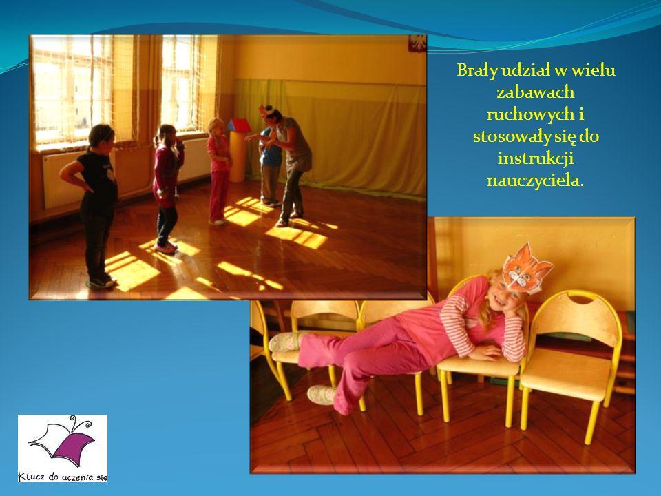 Brały udział w wielu zabawach ruchowych i stosowały się do instrukcji nauczyciela.