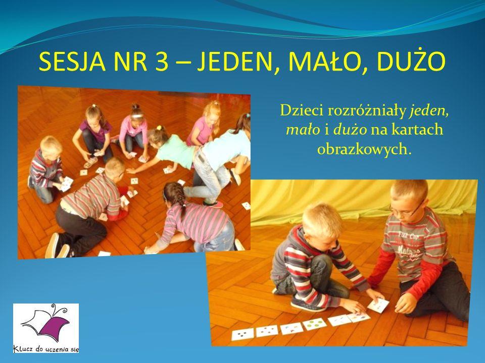 SESJA NR 3 – JEDEN, MAŁO, DUŻO Dzieci rozróżniały jeden, mało i dużo na kartach obrazkowych.