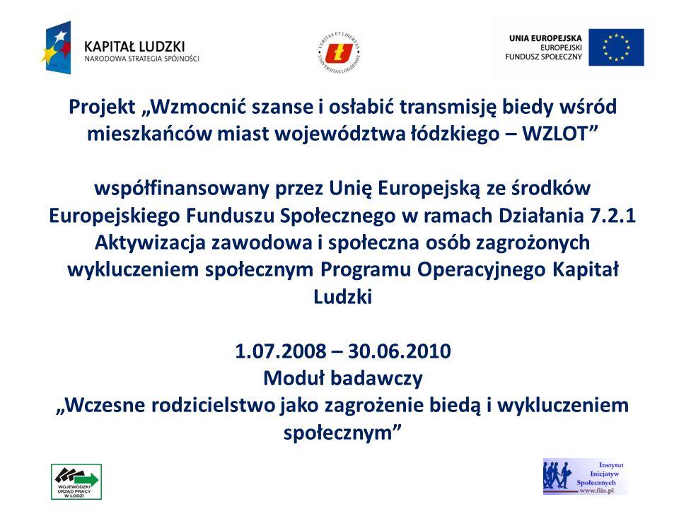 3 Projekt Wzmocnić szanse i osłabić transmisję biedy wśród mieszkańców miast województwa łódzkiego – WZLOT współfinansowany przez Unię Europejską ze ś