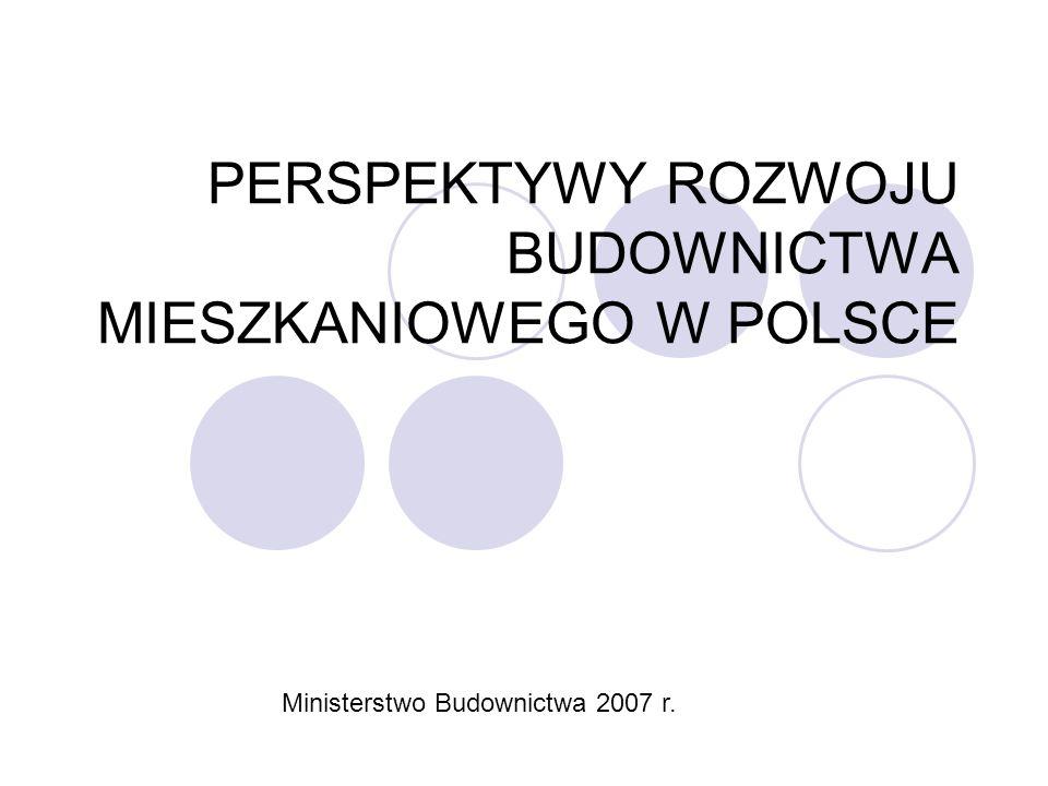PERSPEKTYWY ROZWOJU BUDOWNICTWA MIESZKANIOWEGO W POLSCE Ministerstwo Budownictwa 2007 r.