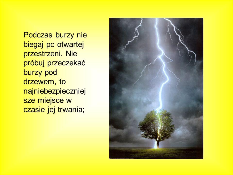 Podczas burzy nie biegaj po otwartej przestrzeni. Nie próbuj przeczekać burzy pod drzewem, to najniebezpieczniej sze miejsce w czasie jej trwania;