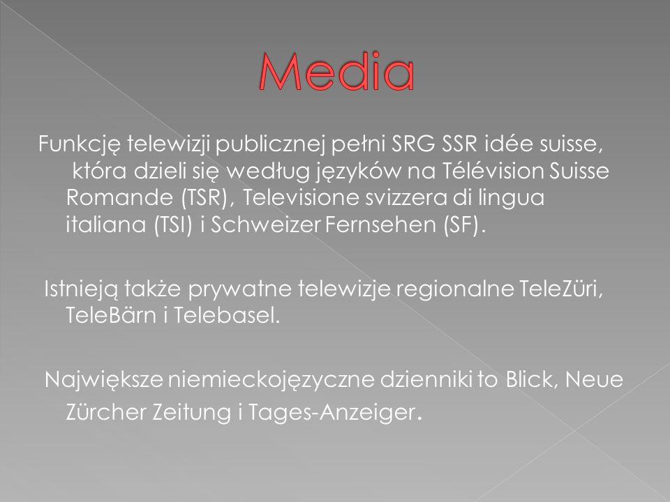 Funkcję telewizji publicznej pełni SRG SSR idée suisse, która dzieli się według języków na Télévision Suisse Romande (TSR), Televisione svizzera di lingua italiana (TSI) i Schweizer Fernsehen (SF).