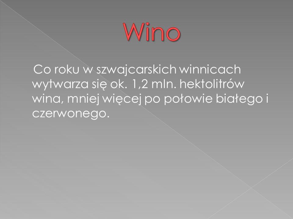 Co roku w szwajcarskich winnicach wytwarza się ok.