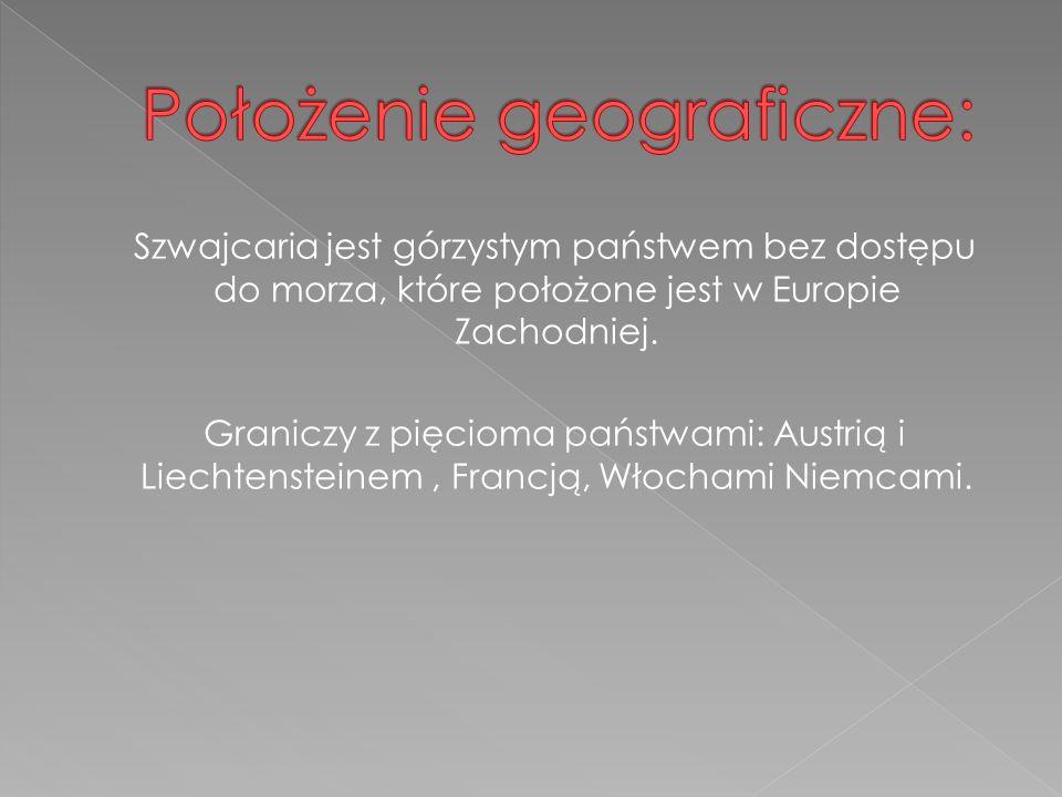 Szwajcaria jest górzystym państwem bez dostępu do morza, które położone jest w Europie Zachodniej.