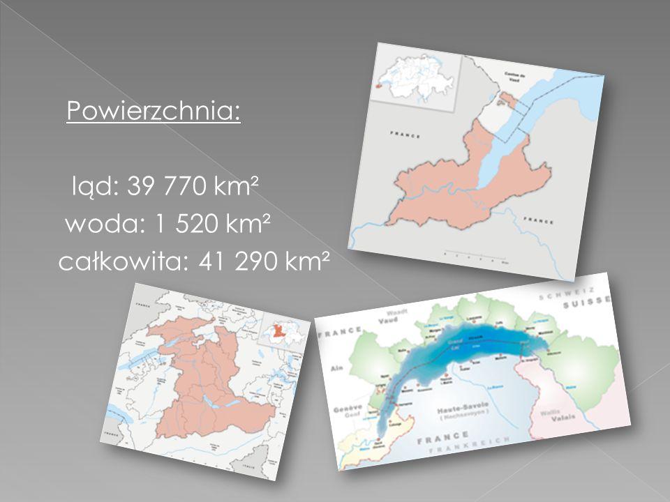 Powierzchnia: ląd: 39 770 km² woda: 1 520 km² całkowita: 41 290 km²