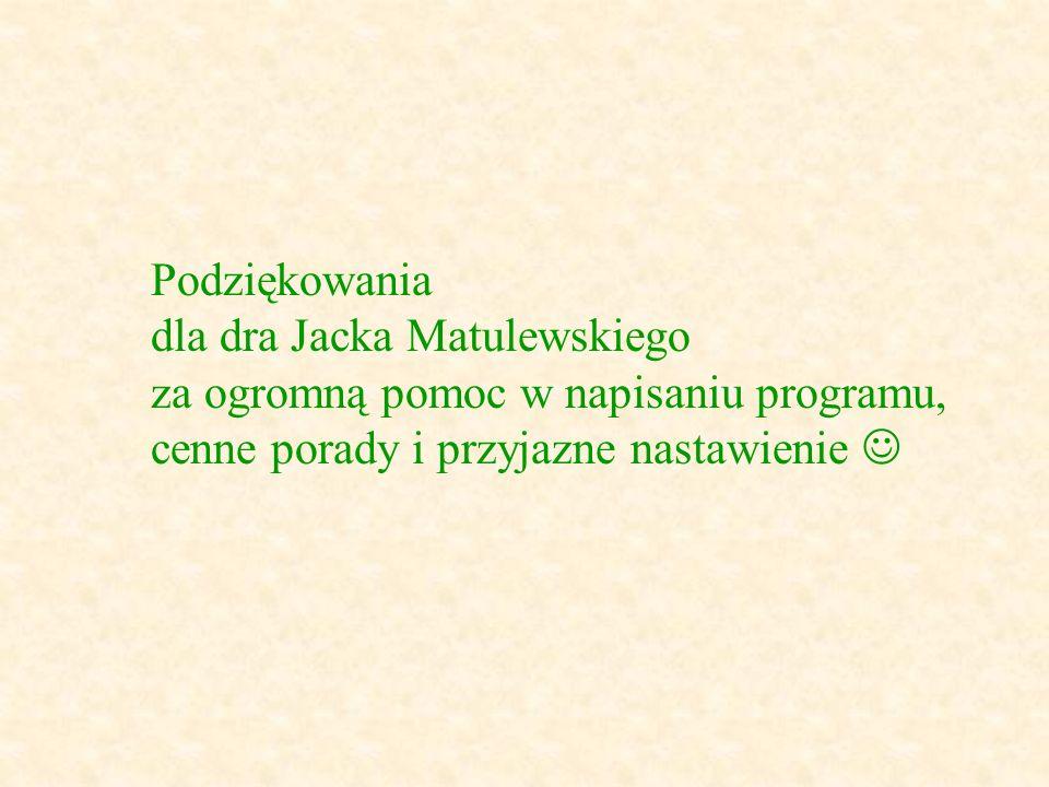 Podziękowania dla dra Jacka Matulewskiego za ogromną pomoc w napisaniu programu, cenne porady i przyjazne nastawienie