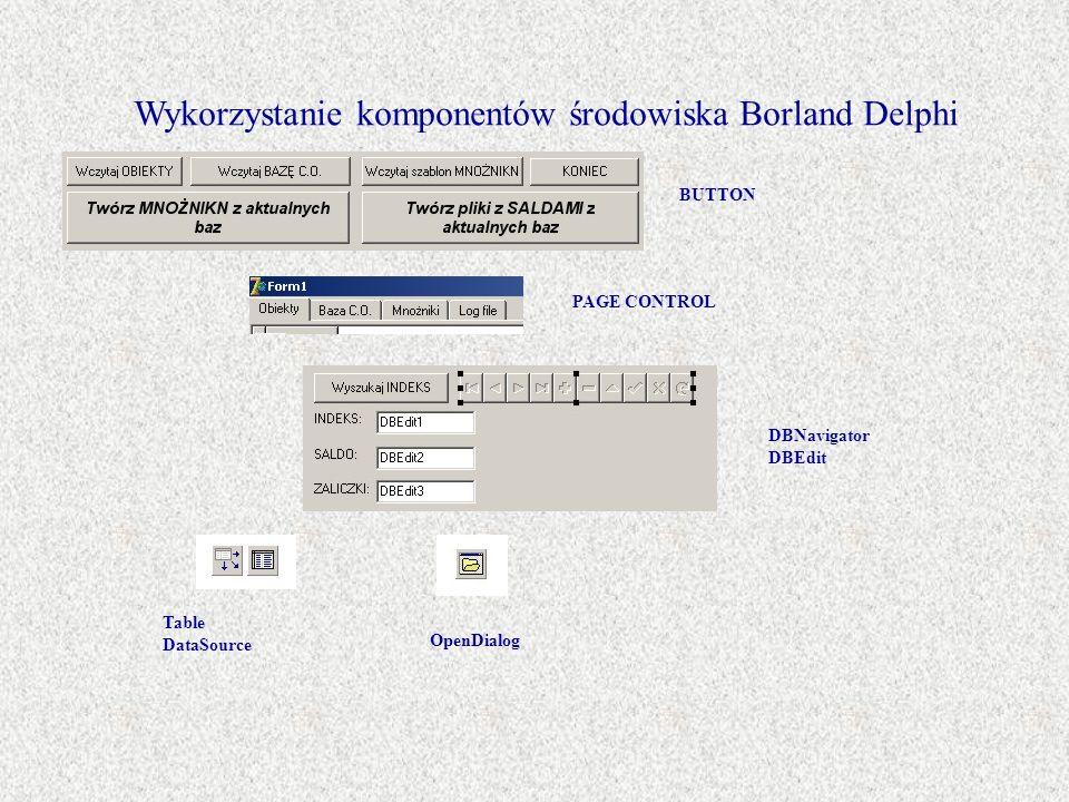 Wykorzystanie komponentów środowiska Borland Delphi BUTTON PAGE CONTROL DBNavigator DBEdit Table DataSource OpenDialog