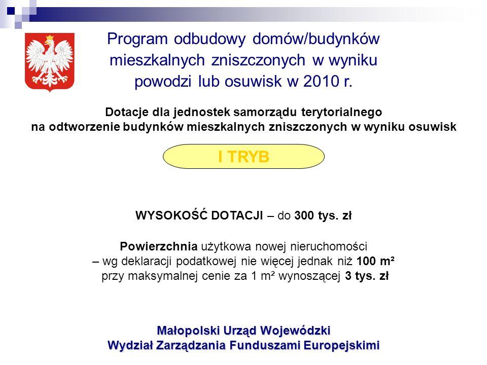 Małopolski Urząd Wojewódzki Wydział Zarządzania Funduszami Europejskimi Program odbudowy domów/budynków mieszkalnych zniszczonych w wyniku powodzi lub