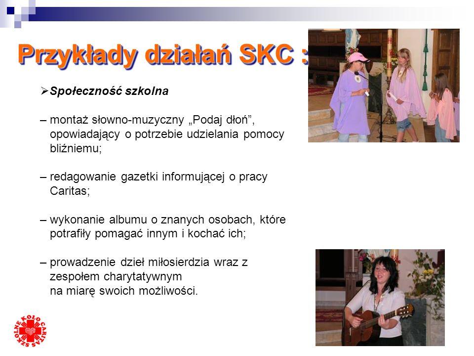 Przykłady działań SKC : Inni Uczniowie ze szkoły – pomoc w nauce, zajęcia wyrównawcze – odwiedziny chorych uczniów w domu, szpitalu – troska o uczniów