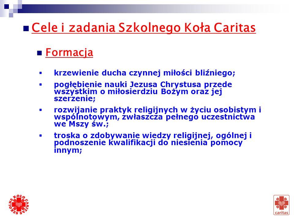 Struktura Szkolnego Koła Caritas Opiekun ( nauczyciel, katecheta, pedagog ) Asystent kościelny (ksiądz, siostra zakonna) Przewodniczący Zastępca Sekre