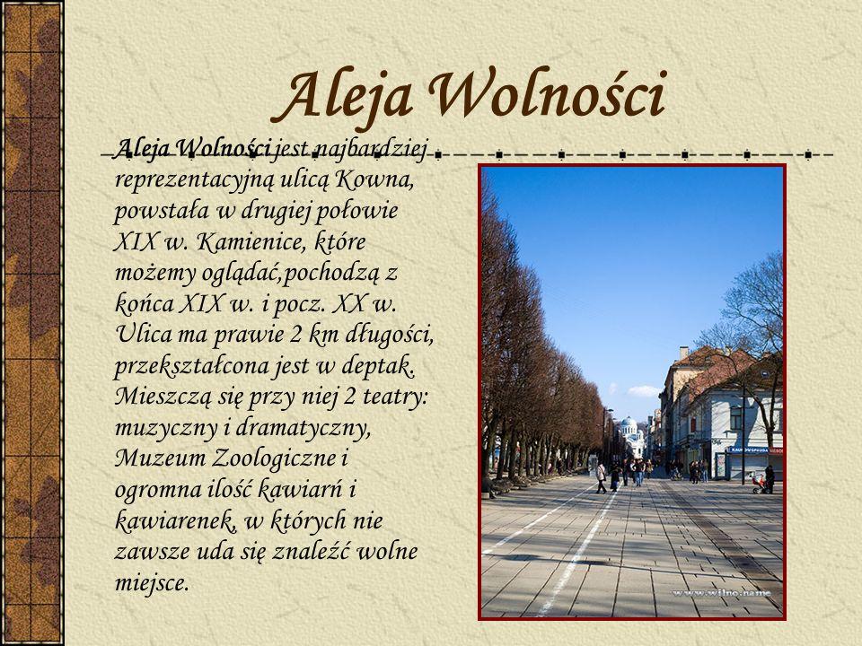 Aleja Wolności Aleja Wolności jest najbardziej reprezentacyjną ulicą Kowna, powstała w drugiej połowie XIX w. Kamienice, które możemy oglądać,pochodzą