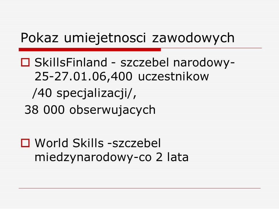 Pokaz umiejetnosci zawodowych SkillsFinland - szczebel narodowy- 25-27.01.06,400 uczestnikow /40 specjalizacji/, 38 000 obserwujacych World Skills -szczebel miedzynarodowy-co 2 lata
