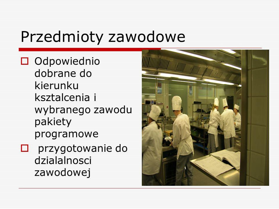 Przedmioty zawodowe Odpowiednio dobrane do kierunku ksztalcenia i wybranego zawodu pakiety programowe przygotowanie do dzialalnosci zawodowej